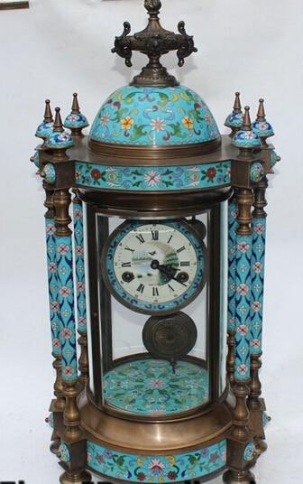 B0601 41526 Rare Cloisonne Enamel Bronze Glass Mechanical Watches Clock Zhong Sculpture