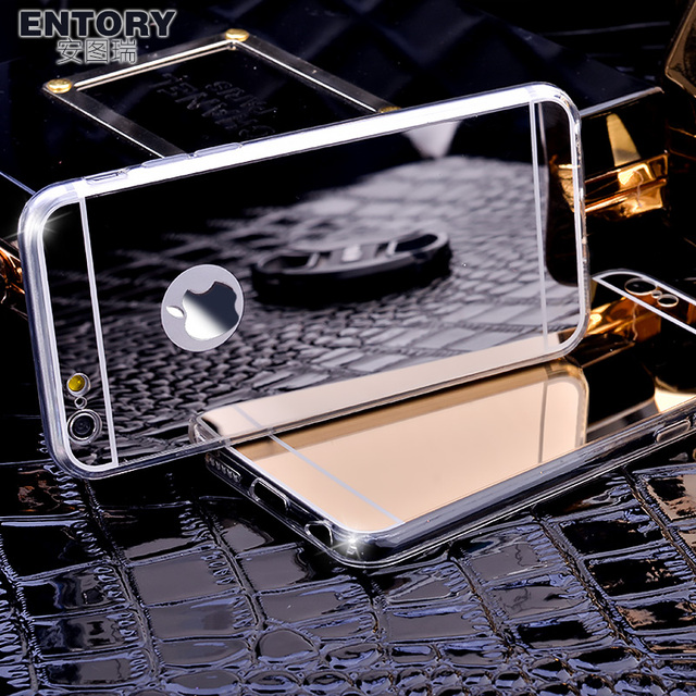 Fashion Luxury Mirror Soft Case For Iphone 5 5S SE 6 6S 7 6Plus 6SPlus TPU Frame Cover