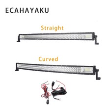 ECAHAYAKU 1pcs 324w 22 inch Straight Curved LED Work Light Bar+ 2m led light wiring harness for SUV Boat 4x4 Truck ATV Off-road