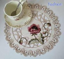 Modern satin cotton embroidery table place mat lace pad cloth placemat doily beer pan coaster dinning kitchen hot cup pads