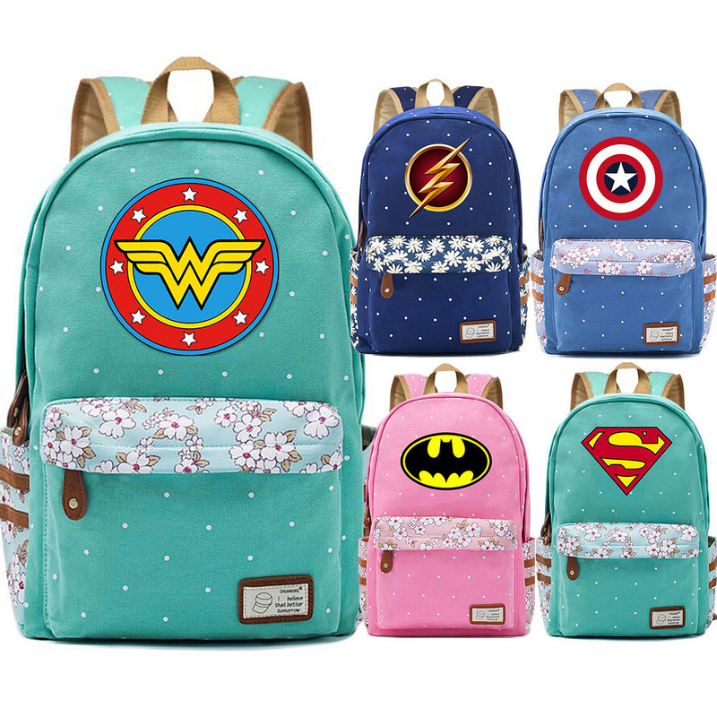 New Hot Superman Batman Captain Marvel Flowers Dot Boy Girl School Bag Women Bagpack Teenagers Schoolbags Canvas Lady Backpack image