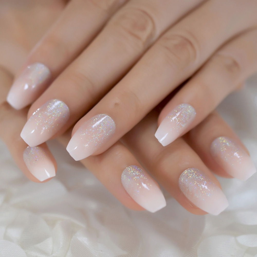 Holographic Silver Glitter Acrylic Nails Ombre French Fake Nails