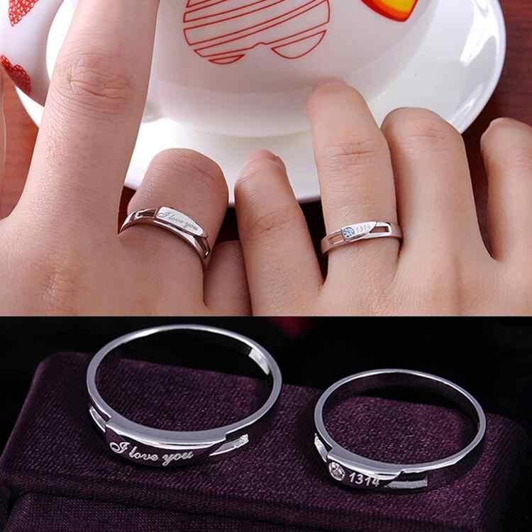 אני אוהב אותך 1314 מצופה כסף דפוס אלגנטי חובבי זוג טבעת מתכווננת אביזרי תכשיטים מקסימים
