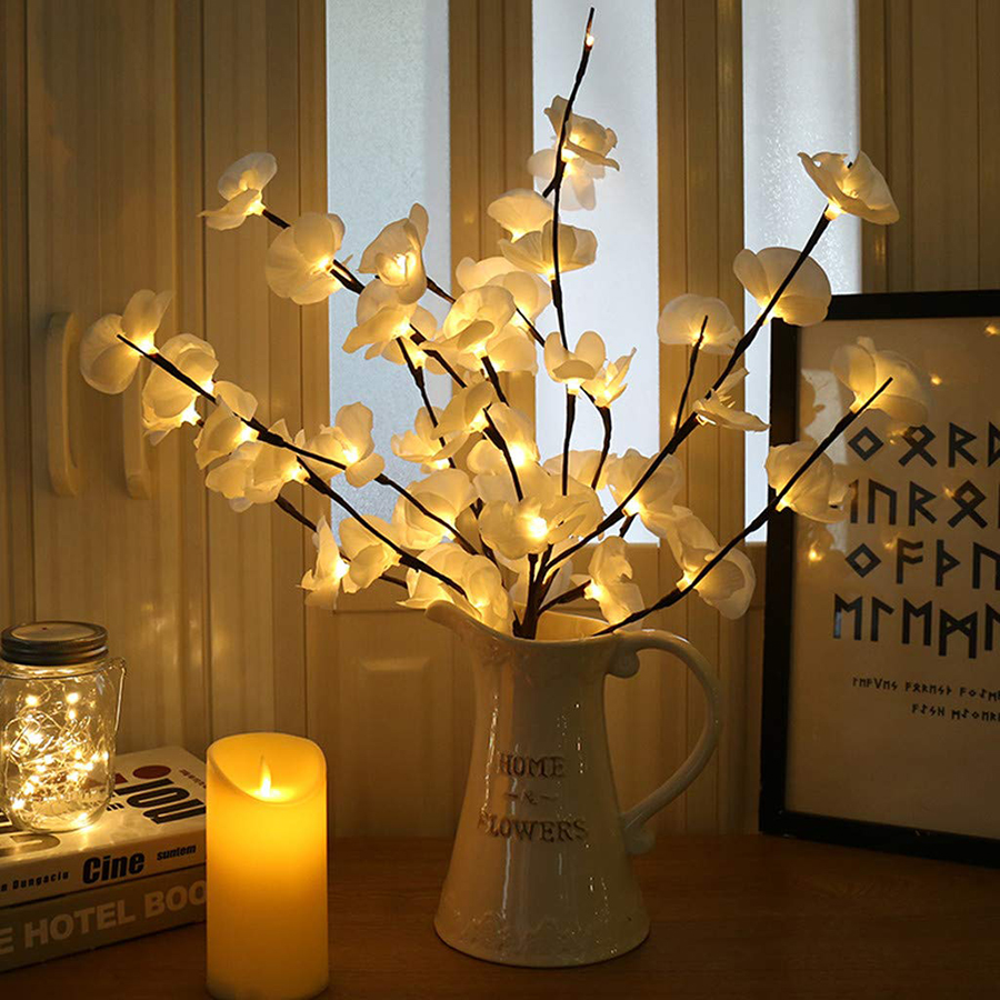 73cm LED Simulation Orchid Branch Lights 20 Bulbs Christmas Vase Filler Floral Light Holiday Garden Party Desktop Decor Lights