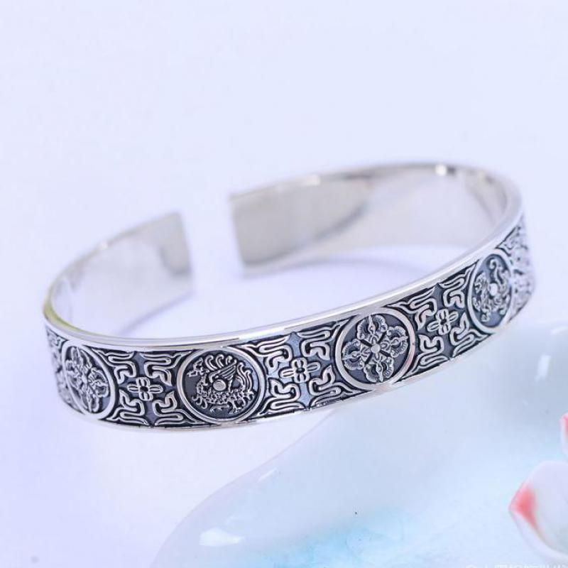 990 Pure Silver Vintage Wide Silver Bracelets Cuff 4 Creatures Dragon Tiger Bird Turtle Chinese Men