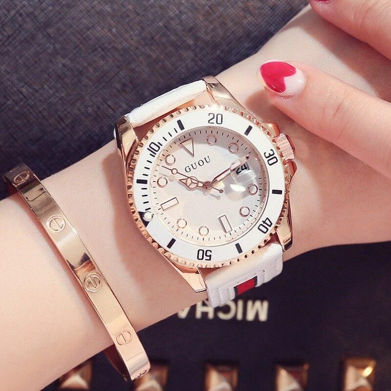 Dial grande relojes tendencia femenina Damen cinturón guapo impermeable fantasma personalidad moda casual amantes de la moda del reloj