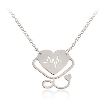Medical ECG Stethoscope Heart Pendant Necklace Rose Gold Silver Heartbeat I LOVE JESUS Necklace Jewelry Doctor Nurse Gift