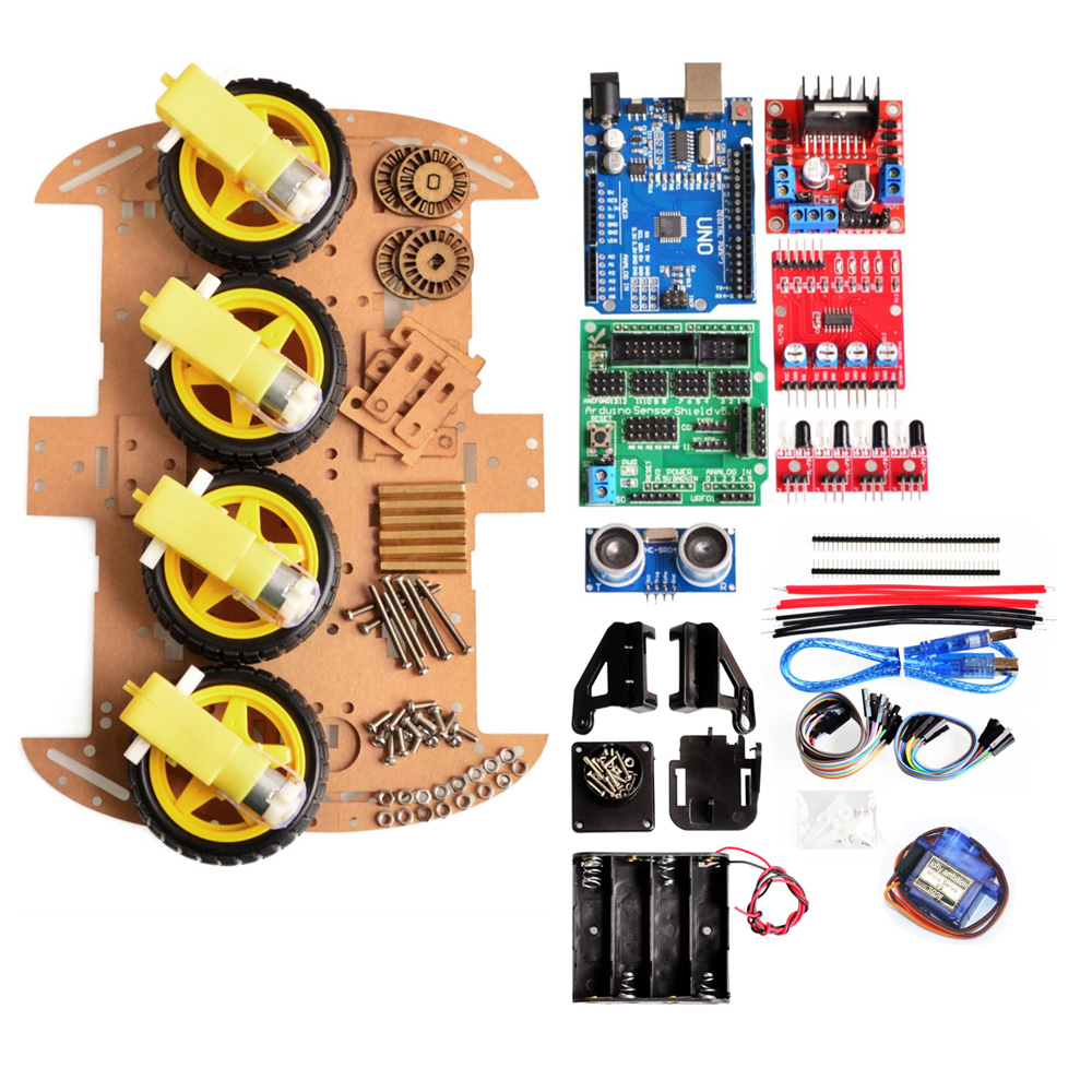 Avoidance Tracking Motor Smart Robot Car Chassis Kit Speed Encoder Battery Box 4WD Ultrasonic Module For Arduino Kit