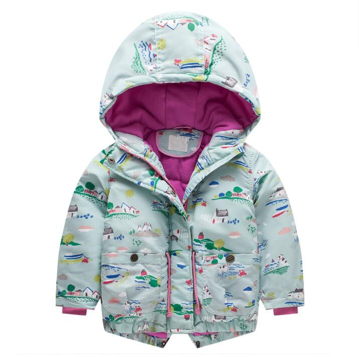 F1854478 2018 Baby Jacket Winter Pattern Girls Jacket Print Girl Coat Waterproof Kids Outerwear Kids Jacket Girls Clothes men geo print jacket