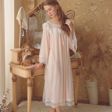 a375c109b7 2018 Autumn New Nightdress Women Cotton Long Sleeve Modal Loose Vintage  Lace Pleated Beautiful Princess Long