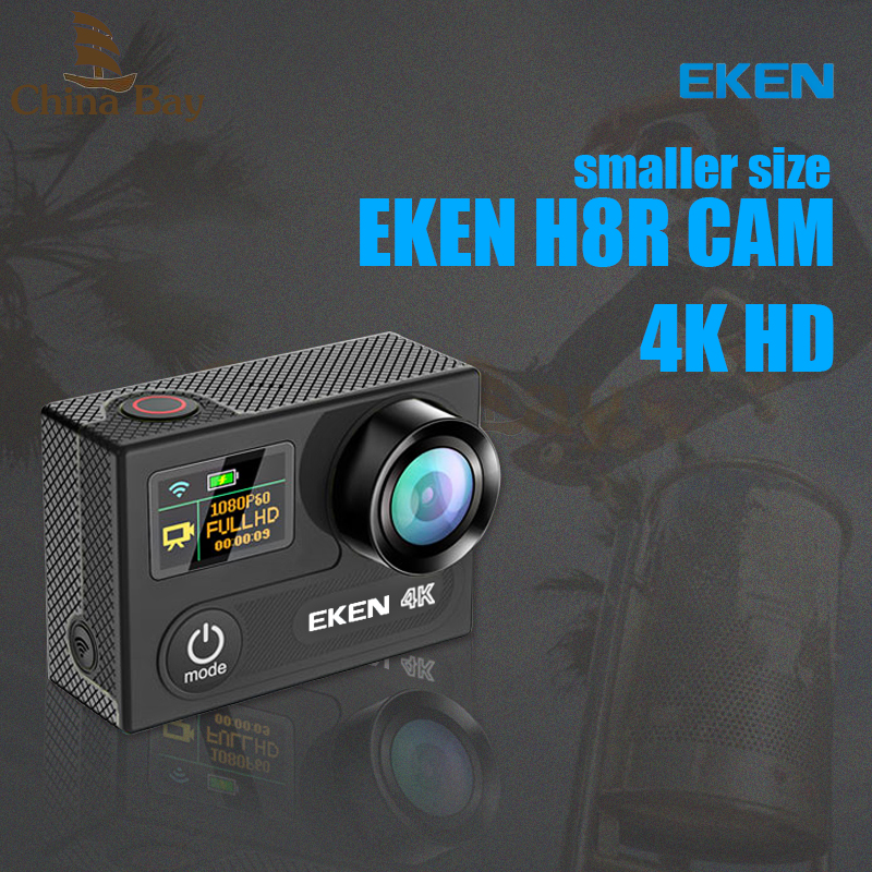 Original EKEN H8R PLUS Ultra HD Action Camera with 4K 30FPS Resolution and 30m waterporoof 2.0 Screen cam go sport Camera pro eken h8 h8r ultra hd 4k 30fps wifi action camera 30m waterproof 12mp 1080p 60fps dvr underwater go helmet extreme pro sport cam