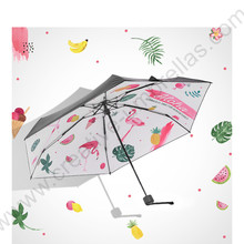 Five fold pongee 5 times black coating anti-uv >50+flamingo pocket umbrella alloy fiberglass superlight compact bird parasol