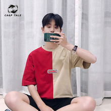 Summer new 2019 men's port wind clown print short-sleeved t-shirt Korean version of the trend of students casual wild tops hooded short sleeved t shirt female loose korean students wild japanese cute print bf trend super fire t shirt z202