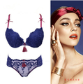 New 2016 lace embroidery sexy push up bra summer thick thin small bra panties adjustable female underwear set