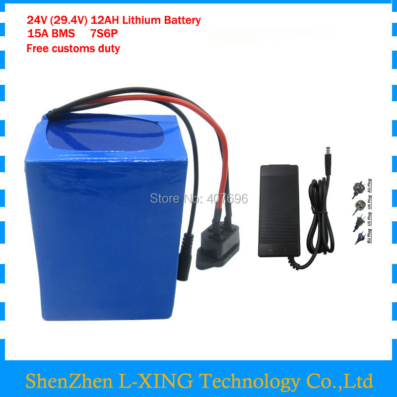 350W 24v 12ah 7S6P lithium battery pack 29.4V 12ah battery li-ion for bicycle battery pack e bike 250w motor with 2A charger lithium battery pack 72v 20ah li ion 18650 battery with 3a charger and bms for 5000w motor