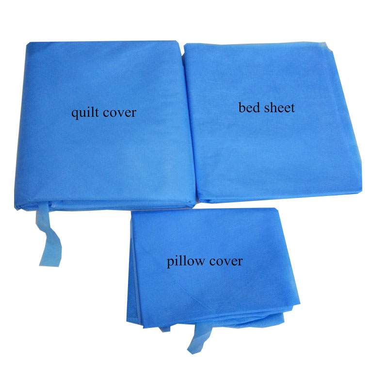 1 Pcs/set Disposable Non-woven Bed Set Portable Healthy Bedding Set With Pillowcase Bed Sheet Duvet Cover