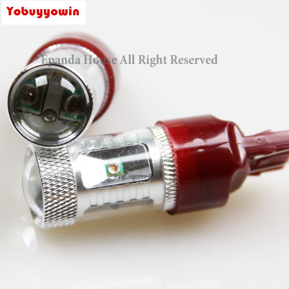 Free shipping 4Pcs 7443 7444 W21W Red High Power 30W Cree Chips Led Tail Brake Lamps For 2014 Nissan