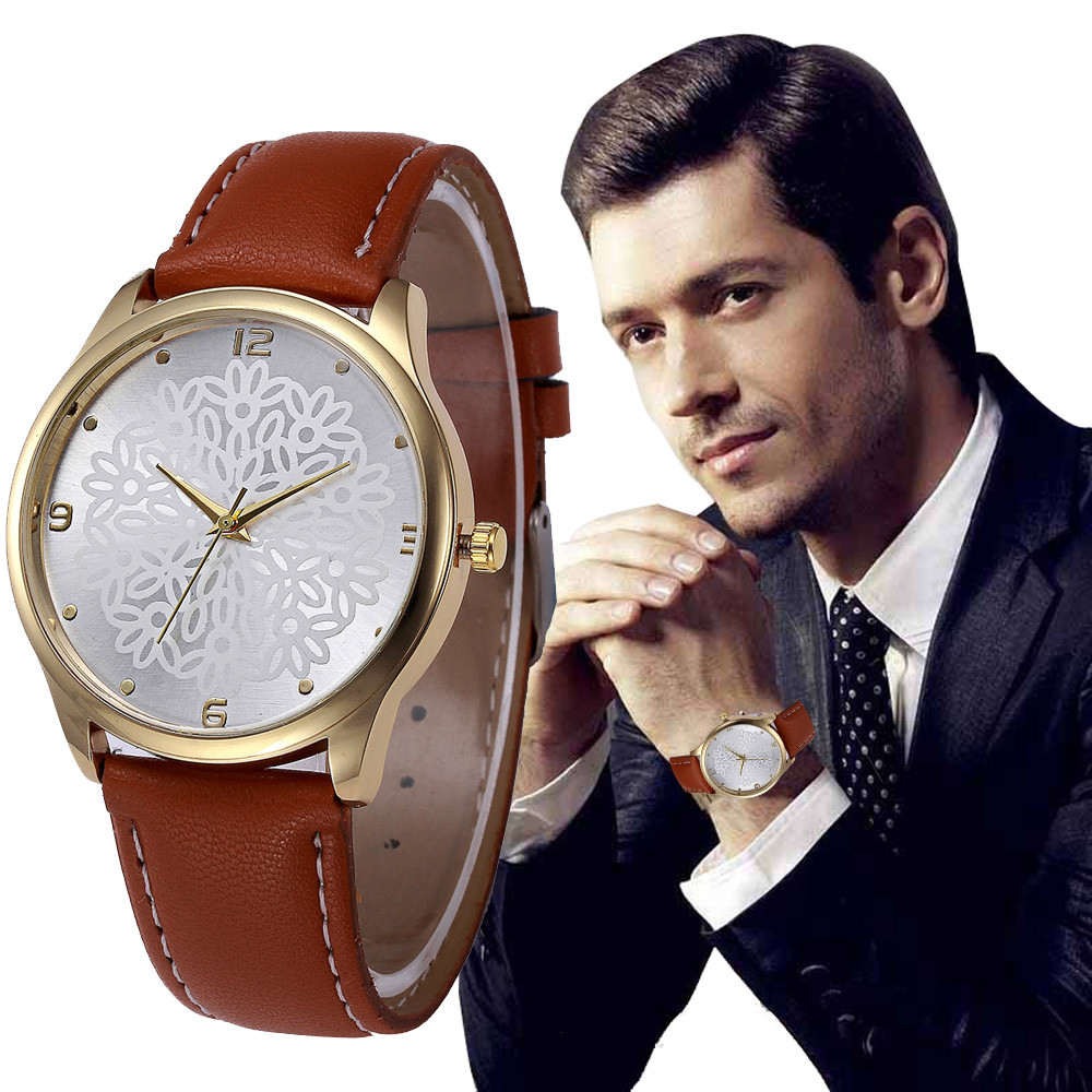 Mens Wrist Watch Flowers Pattern Dial Luxury Leather Band Watches Clock Women Business Watches Relogio Masculino #18