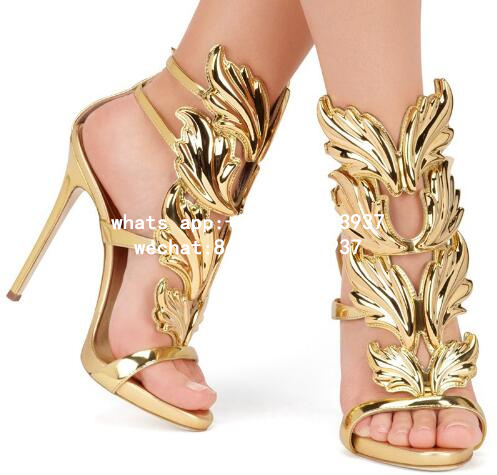 6ea2bba64d24 Hot sell women high heel sandals gold leaf flame gladiator sandal shoes  party dress shoe woman patent leather high heels-in High Heels from Shoes  on ...