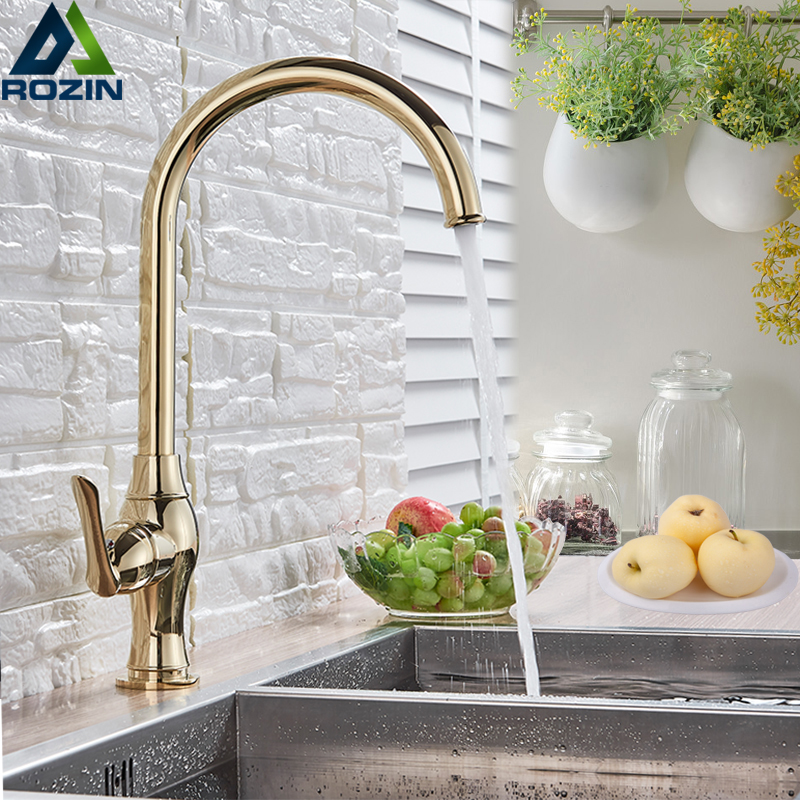 Polished Gold Bathroom Kitchen Faucet Single Handle Rotate Spout Hot and Cold Water Mixer Tap for Kitchen Deck MountedPolished Gold Bathroom Kitchen Faucet Single Handle Rotate Spout Hot and Cold Water Mixer Tap for Kitchen Deck Mounted