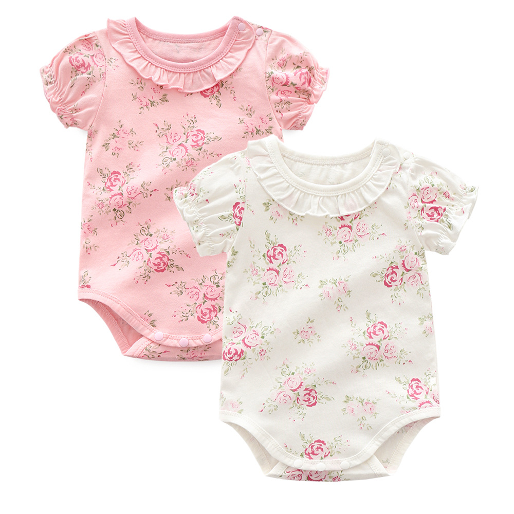 Summer Baby Girl Clothes Short sleeve Fashion flowers baby romper Roupas Bebes Baby Girls clothes cotton princess Newborn Clothe