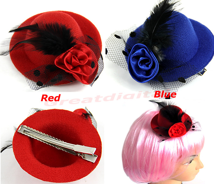 2PCS Girls Stage Show Hair Clips Lady Feather Rose Mini Top Hat Fascinator  Party Costume Fashion Hair Accessories-in Women s Hair Accessories from  Apparel ... c39c03c1816