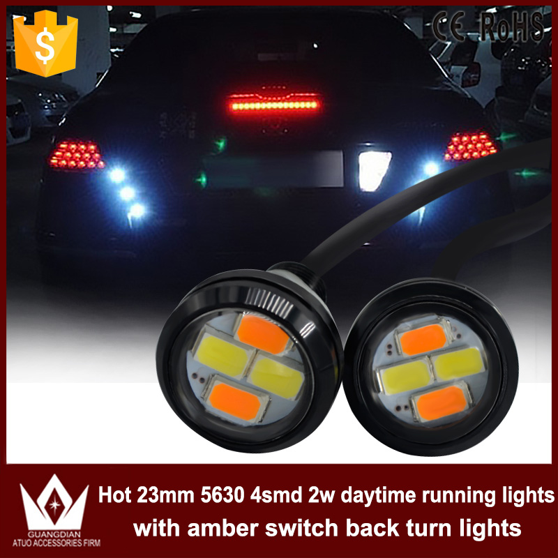 GuangDian 2PCS 23mm 5630 LED DRL Eagle Eye Daytime runing lights Warning Fog lights with turning signal Dual color For Kia Rio leadtops car led lens fog light eye refit fish fog lamp hawk eagle eye daytime running lights 12v automobile for audi ae