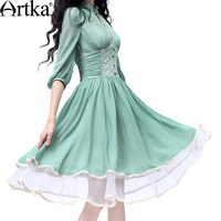 Artka Women S Slim Cut Delicate Lace Embroidery Three Quarter Sleeve Stand Collar Empire Cinched Waist