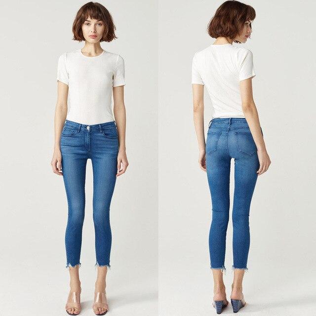 2f314aa01b62 Fashion Blue Irregular Legs 2017 Autumn Women Slim Fit Elastic Skinny Jeans  Mother Mom Jeans Winter Mid-waist Pencil Pants Denim