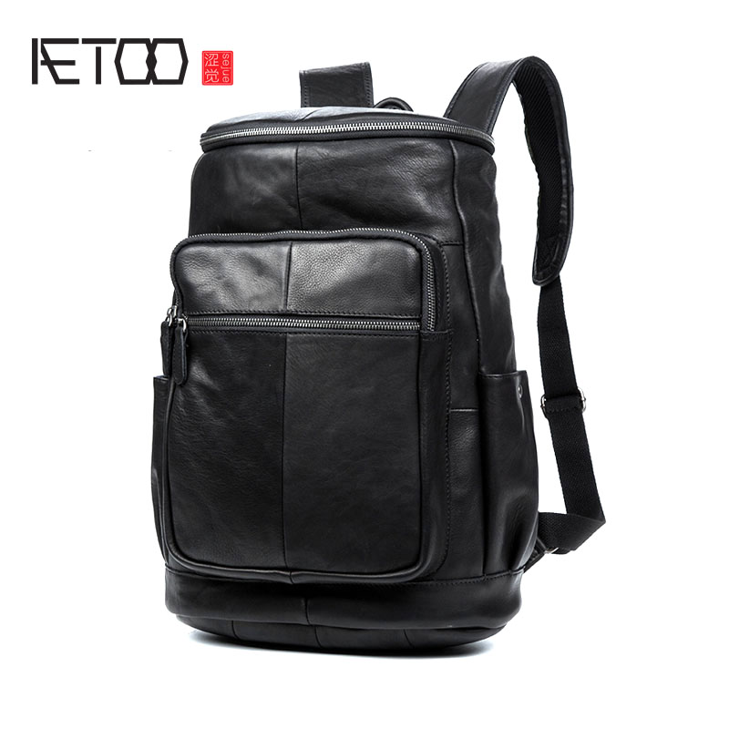 AETOO Men's and women Leather Shoulder Bag Business Casual Leather Backpack Travel Computer aetoo leather shoulder bag men s leather backpack multi functional computer bag travel casual korean students bags