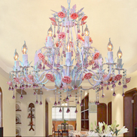 Garden Flower Lamp Iron Rose Living Room Bedroom Ceiling Lighting Creative Personality Shop Candle Crystal Lamp