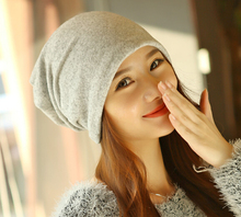 Two use!100% cotton Woman's underwear Winter Beanie Cap soild Hat Beanie Knitted Winter Hats can use neckerchief 8 colour MG-15