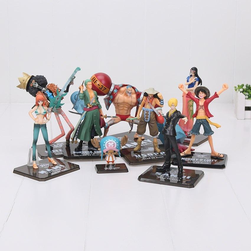 Anime One Piece Figuras de Ação 2 Anos Mais Tarde Luffy Lei Benn Zoro Sanji Brook Franky Nami Usopp Chopper figuras PVC bonecas