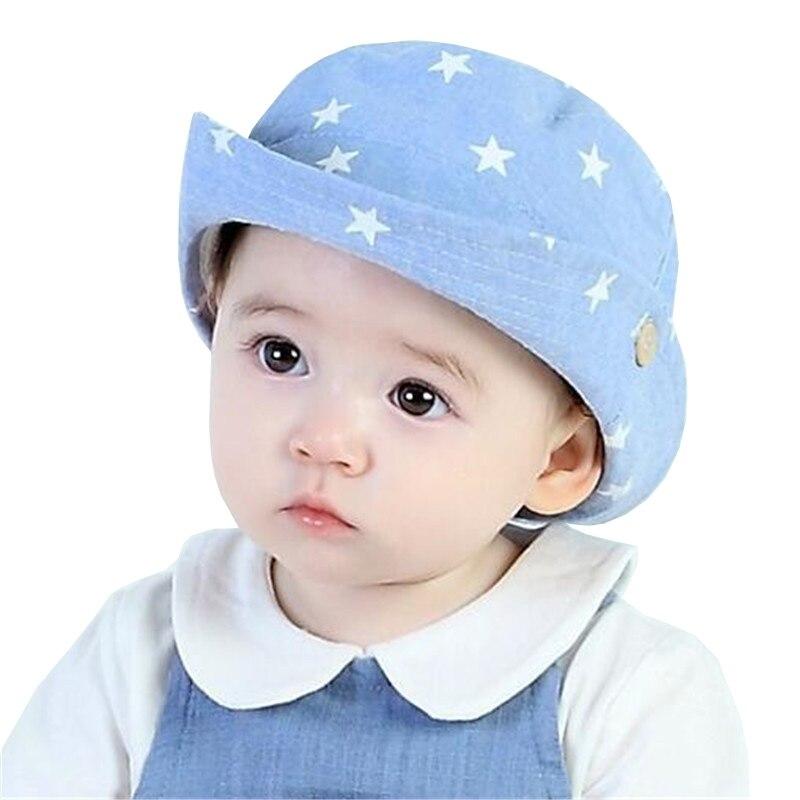 Módní hvězdy Baby Boy Klobouky Plážové vědro Sun Hat Kovbojka Cap Jarní letní podzim Děti Klobouky Dívky Sluneční čepice fit 3 až 10 měsíců