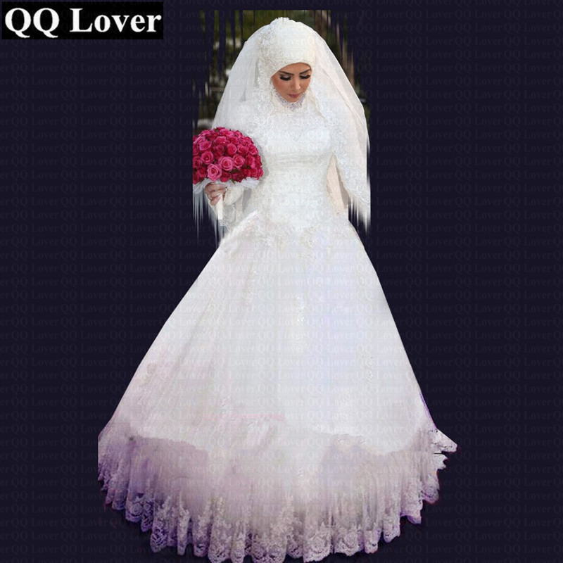 2019 New Muslim High Neck Long Sleeves Lace Wedding Dress Custom made Plus Size Appliques Bridal
