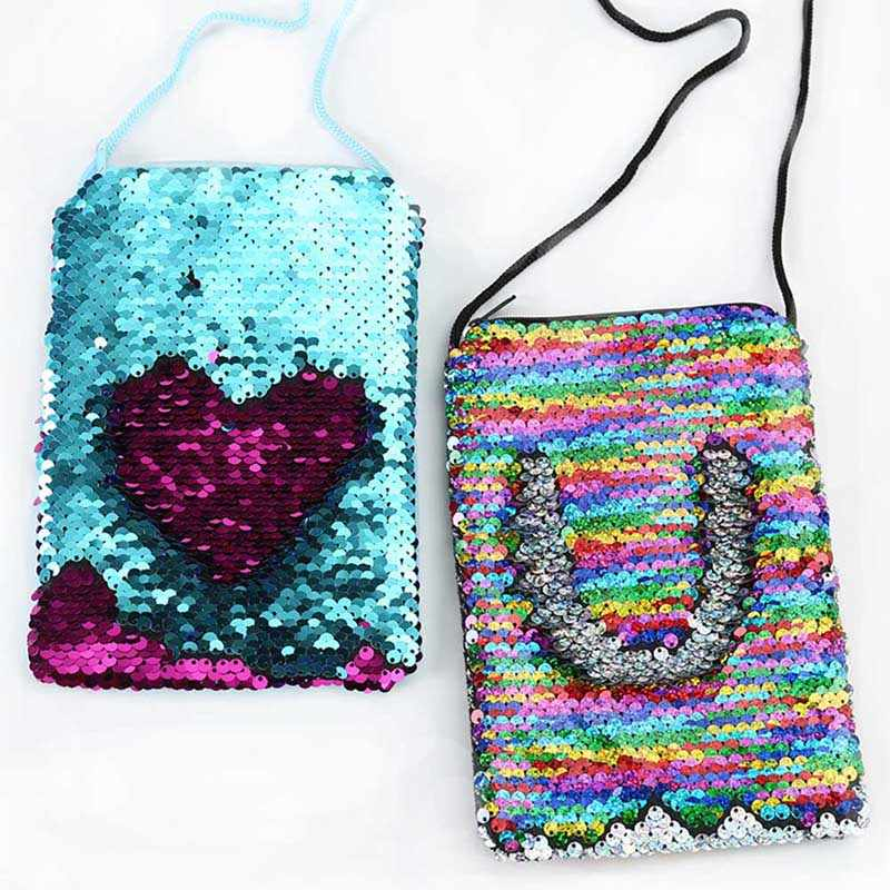 New Sequins Loving Heart Girls Shoulder Phone Bag Women Mini Messenger Bag Cartoon Boys Small Coin Purse Children Handbags