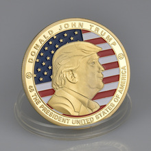 24K Gold Plated Colorful Trump Metal Commemorative Coin 40mm america president donald trump commemorative coin gold plated colorful metal coin with plastic case