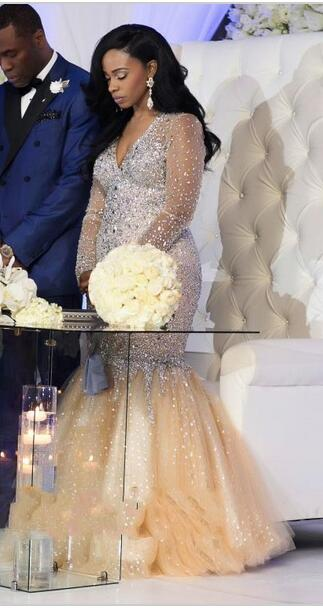 Soirée De 2017 Longues Strass Robes Robe Fête africain Formelle Manches Sud Bal Cristal Luxe Champagne Sirène wqIxdPPY