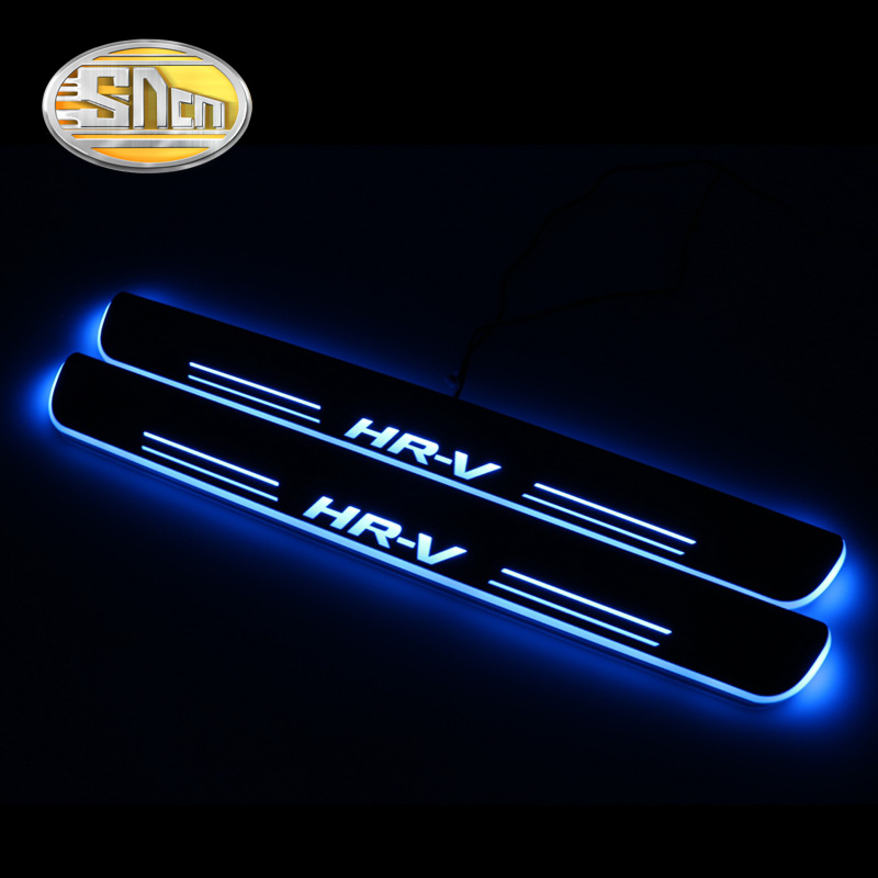 SNCN 4PCS Acrylic Moving LED Welcome Pedal Car Scuff Plate Pedal Door Sill Pathway Light For Honda HR-V HRV 2016 2017 2018 2019