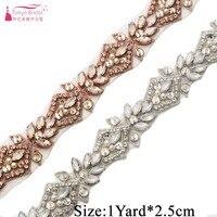 Handmade Luxury Bridal Belts A grade Rhinestone Applique Pearl Bride Girdle Wedding Belt 1 Yard Length JQ211