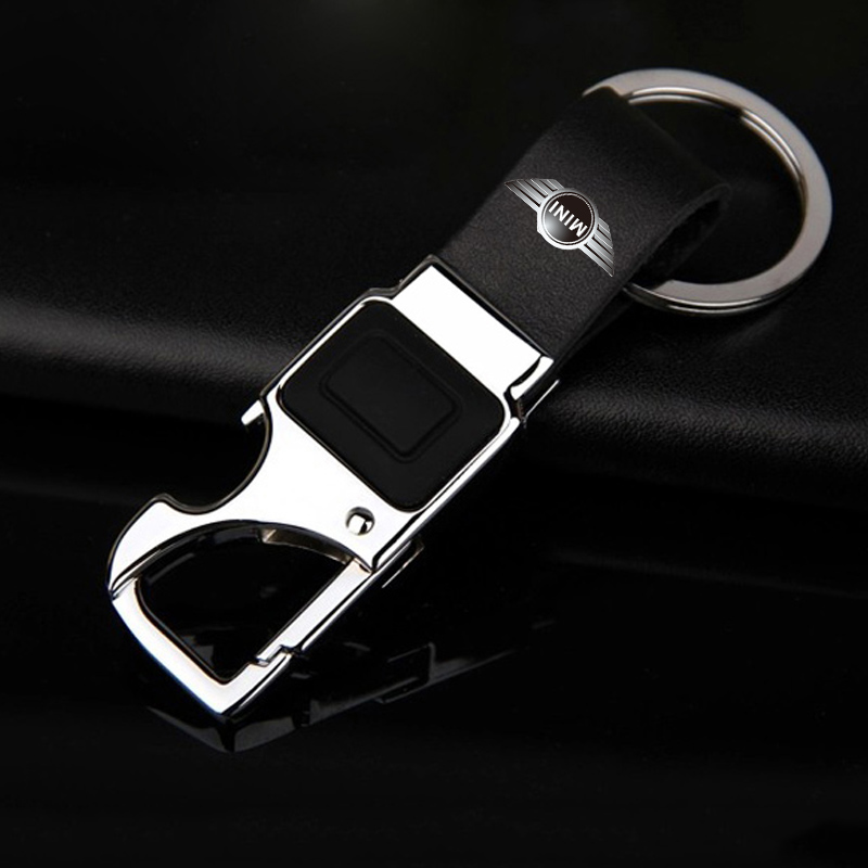 KUNBABY Leather Key Chain Metal Car Key Ring Multifunctional Tool Key Holder LED Bottle Opener Keychain For Mini Cooper image