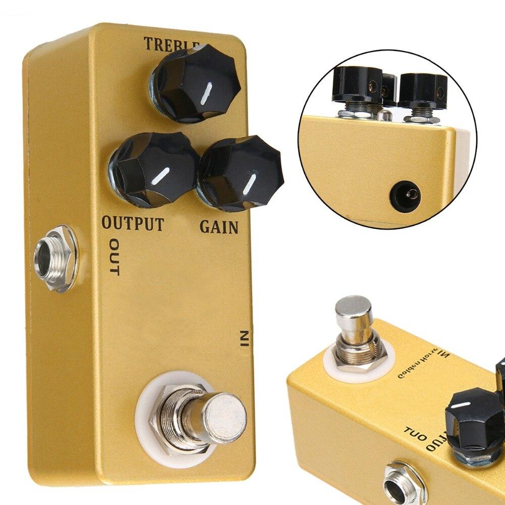 1 PC Audio D'or Mini Guitare Pédale D'effet Overdrive Boost Full Metal Shell qualité supérieure True Bypass Guitare Pièces