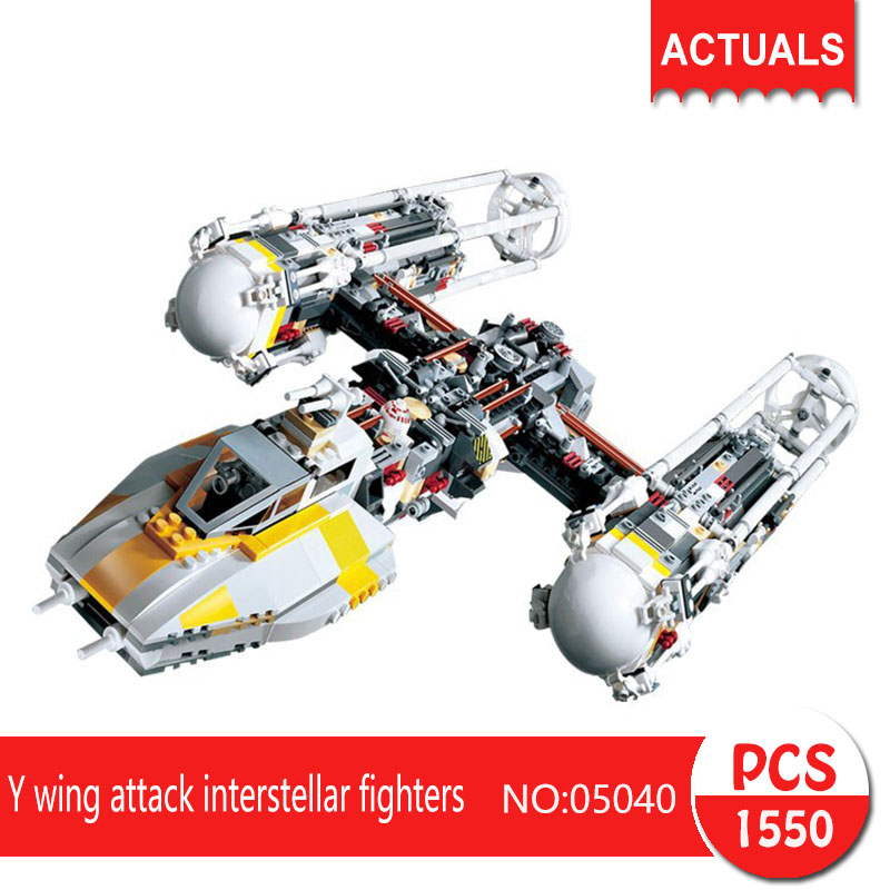 Lepin 05040 1550Pcs Y wing attack interstellar fighters Model Building Blocks Set  Bricks Toys For Children 10134 lepin 05040 y attack starfighter wing building block assembled brick star series war toys compatible with 10134 educational gift