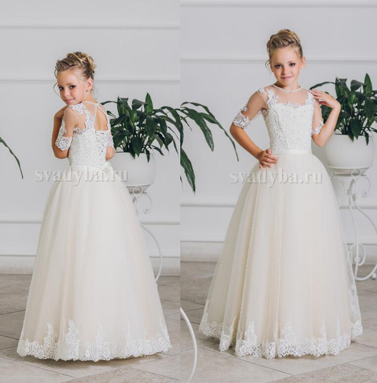 Vintage half sleeves ivory laces flower girl dresses with sheer lace keyholeback lace up illusion holy the first communion gown
