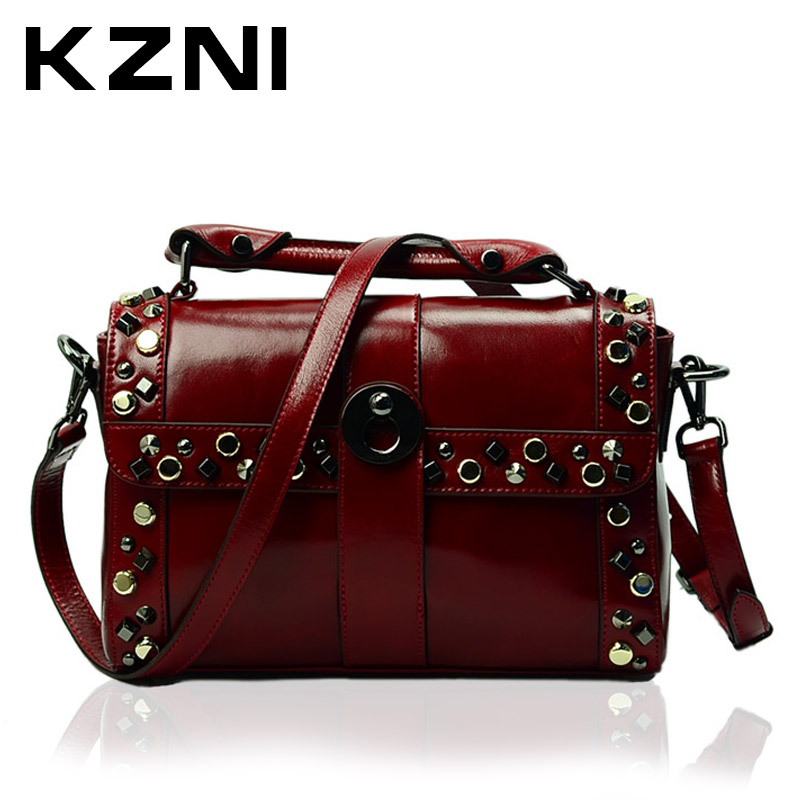 KZNI Women Leather Handbags Shoulder Bags Top-handle Tote Ladies Bags Fashion Handbags 2017 Bolsas Femininas 1180 stylish diamond lattice brand new women tote bags fashion ladies evening party bags designer handbags bolsas femininas