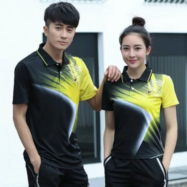 f7b9410a6c Sports Brand Quick Dry Short Sleeve Breathable Badminton Shirt,Women Men  Table Tennis Fitness Exercise