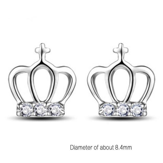 1 Pair Newly Arrival Fashionable Clic Princess Crown Shaped Silver Color Earrings Jewelry Ear 0458