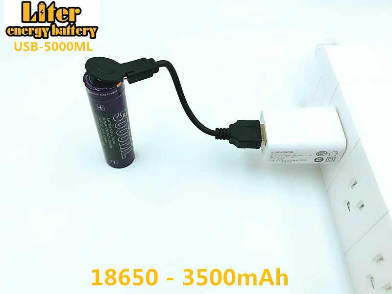 Литиевая батарея USB провод + 3,7 V 18650 3500 mAh литий-ионный USB 5000 ML подзаряжаемые светодиодные индикаторные лампы DC-зарядка