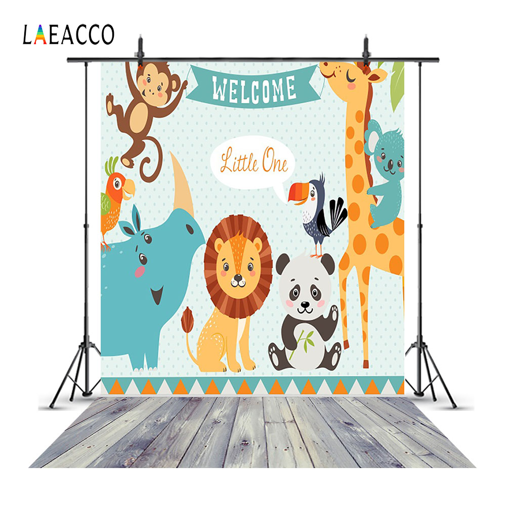 Laeacco Animal Welcome Baby Shower Wood Floor Photography Backgrounds Vinyl Custom Camera Backdrops For Photo Studio