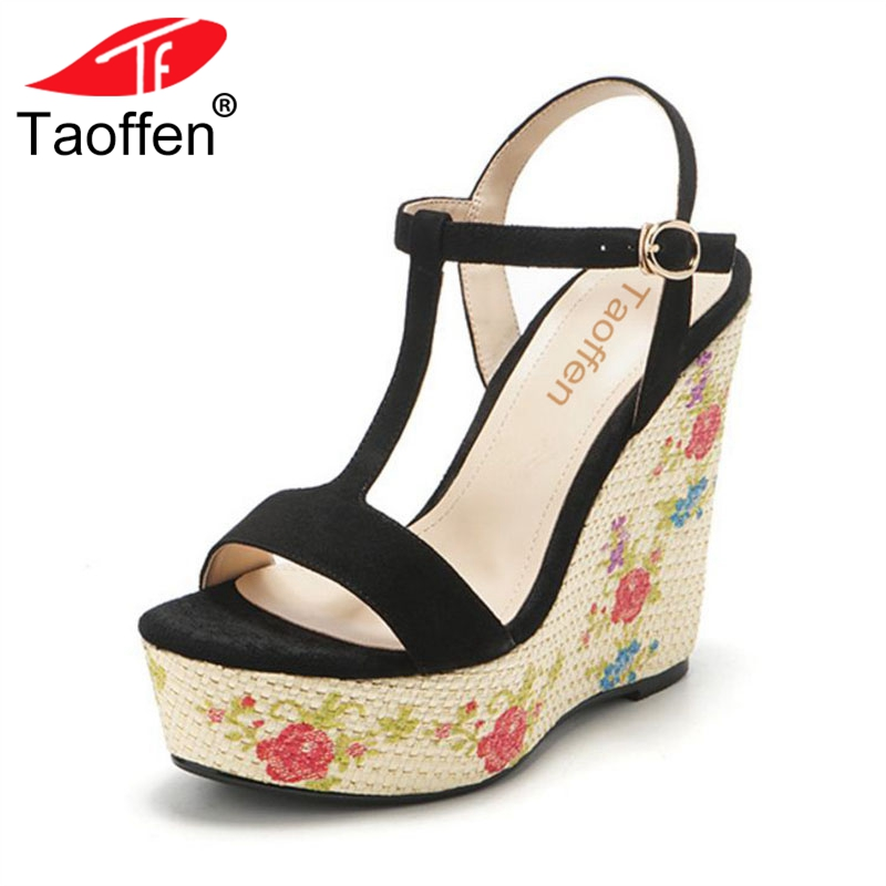 TAOFFEN Concise Women Real Leather Flats Sandals Open Toe Metal Buckle Slipper Summer Daily Shoes Women Footwear Size 34-39 taoffen women high heels sandals real leather peep toe shoes women buckle clear thick heel sandals daily footwear size 34 39